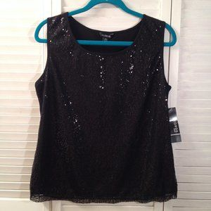 George NWT Sz L Lined Black Sequined Tank Top